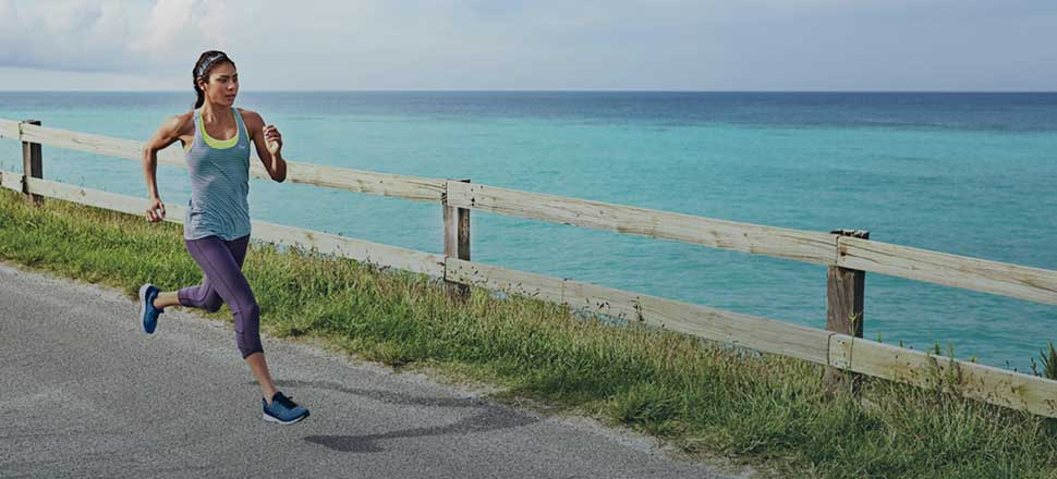 Blue Crush Collection - Woman Running on the Coast
